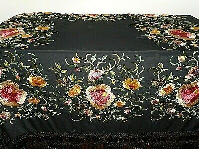 Antique embroidered silk piano shawl