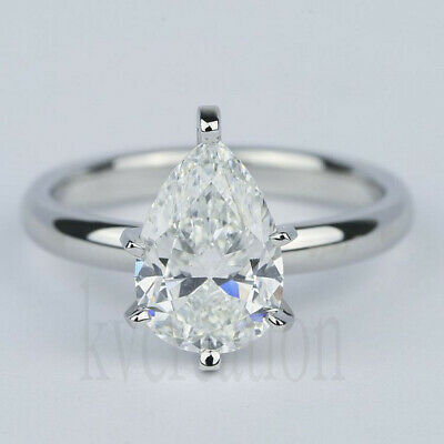 Pear 2.07 Ct Near White Moissanite Solitaire Engagement Ring 925 Sterling Silver