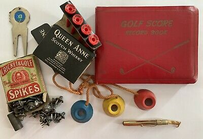 Vintage Golf Collectables Black Boy Spikes In Box Rare Surface Tees Ball Marker
