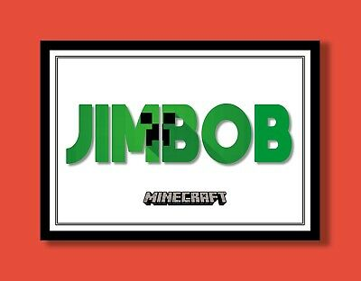 Personalised Minecraft Creeper Name Wall Art Ideal Gift A4 Childrens Room