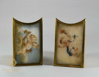 Pair Of Antique 19Th Century Porcelain Handpainted Clock Panels