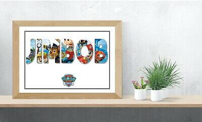 Paw Patrol Personalised Name Wall Art Print Poster Ideal Gift A4 Children's Room