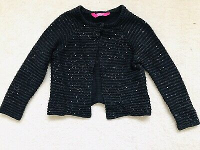 Girls Black Sequin Ribbed Shrug Age 7-8 Years From Primark