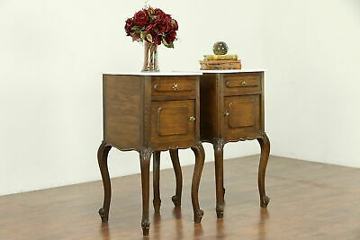 Pair Country French Antique Oak Nightstands or End Tables, Marble Tops #30643