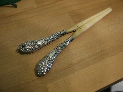 Attractive Ornate Antique Hm 1900 Sterling Silver Handled Glove Stretchers