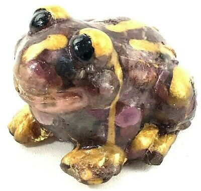 FROG FIGURINE Asian Made of Bonded Gemstone Jade Ruby Emerald and Sapphire RARE
