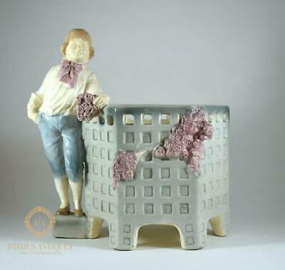 Beautiful Antique 19Th Century Austrian? Porcelain Figural Planter Plant Pot
