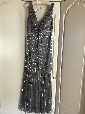 Grey Sliver Full Length Sequinned Beaded Evening Gown / Party Dress Size 16