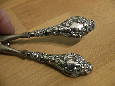 Nice Ornate Antique Hm 1910 Chester Sterling Silver Handled Glove Stretchers