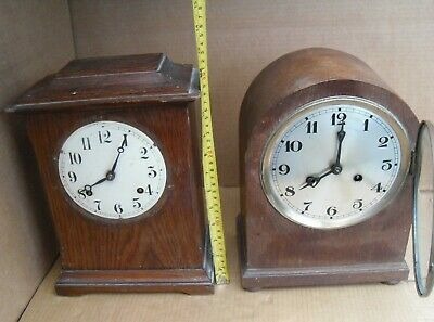 2 Vintage Mantelpiece Clock Mantel Brass Movement Pendulum Newhaven Not Working