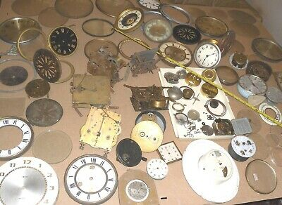 Big Job Lot Vintage Clock Parts Brass Movement Hinge Glass Cog Face  Not Working