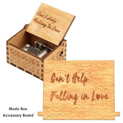 Retro Wooden Hand Cranked Music Box Board Accessories Xmas Kids Gift Decor Kit