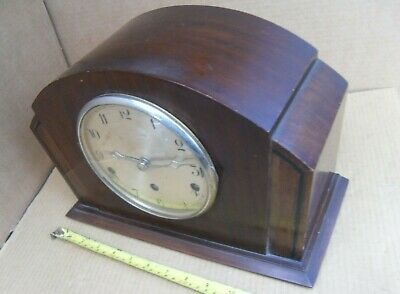 Vintage Ticking & Chiming To A Tune 5 Chimes Clock Mantel Brass Movement Working
