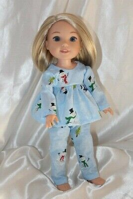 Doll Clothes fits 14 inch American Girl Wellie Wishers Dress Pajamas Christmas
