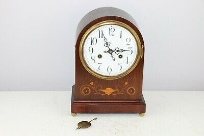 Antique Junghans Mantel Shelf Clock With B13 Movement - Wooden Inlaid Case
