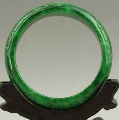 54-56mm Certified Natural Jadeite Emerald A Jade Carved Bracelet Bangle NO.C230