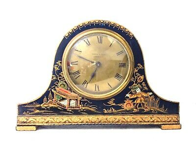 Antique French Mappin & Webb Rare Blue Chinoiserie Lacquer Mantel Clock, Working