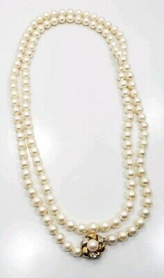 Beautiful Vintage Mid Century 14k Yellow Gold Pearl Diamond Clasp Necklace