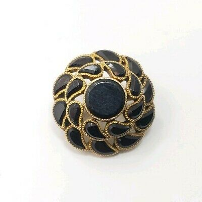 Antique Victorian Vintage 10k Yellow Gold Circle Black Onyx Detailed Pin Brooch