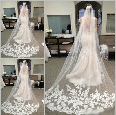 White Ivory 1T Cathedral Applique Edge Lace Bridal Wedding Veil With Comb 3M OD