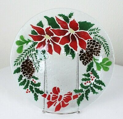 """Signed Peggy Karr Fused Glass 11"""" Plate Poinsettia Holly Pine Wreath Christmas"""