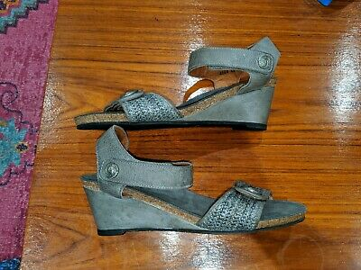 Taos Wedge Sandals Blue/Grey Leather 42 US 11 11.5 As New