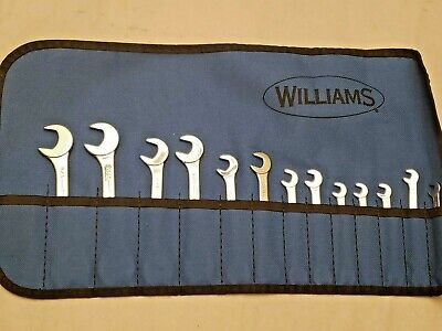 """Williams Angled Open End Wrench Set of 14 - SAE - 3/16"""" - 5/8"""" - Mint Condition"""