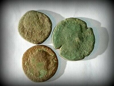 3 ANCIENT ROMAN COINS AE2 LARGE - Uncleaned and As Found! - Unique Lot L31402