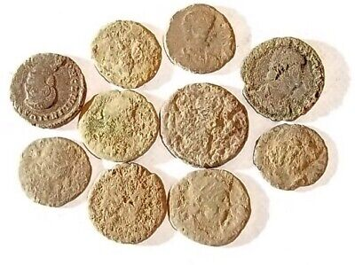 10 ANCIENT ROMAN COINS AE3 - Uncleaned and As Found! - Unique Lot 19701