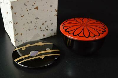 U3269: Japanese Wooden Lacquer ware TEA CADDY Natsume Chaire Container
