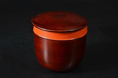 U3461: Japanese Wooden Hida Shunkei lacquer ware TEA CADDY Chaire Container