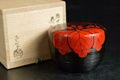 U3558: Japan Wooden Lacquer ware Paulownia crest pattern TEA CADDY w/signed box