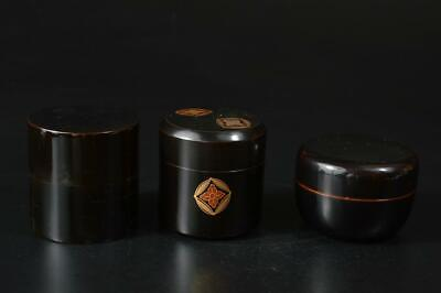 U3460: Japanese Wooden Plastics TEA CADDY Natsume Chaire Container 3pcs