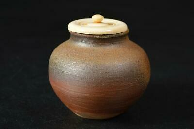 U2221: Japanese Bizen-ware TEA CADDY Chaire Container with High class lid