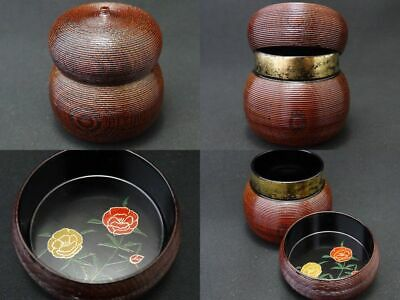Tea caddy Wooden Lacquer Common Garden Peony makie Gourd-shaped Natsume (924)