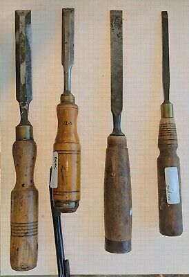 4 Old Chisels 2*Marples, 2*Berg 16,2*12.5,& 6mm  bevel & firmer Woodwork Timber