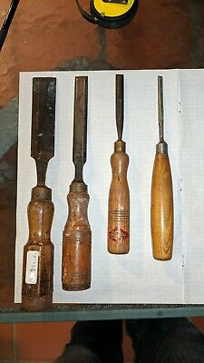 4 Old Bevel Edge UK Chisels Sorby, Unknown, Swearby, Noname, Woodwork Timber