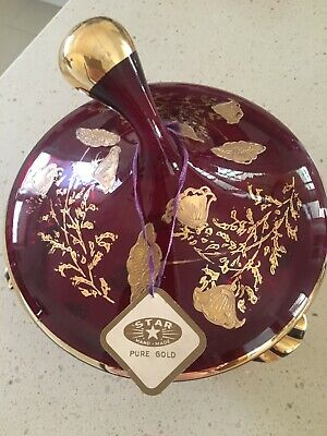 Bon Bon Jar Hand Made by Star Painted design in gold on deep red glass