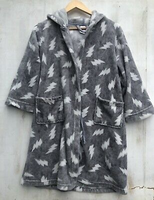 Kids Hooded Dressing Gown. Size 10. Grey And White Lightning Bolt EUC