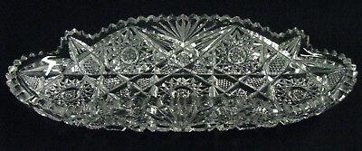 """Cut To Pieces"" ! Circa 1900 Antique American Brilliant Cut Oval Glass Relish"