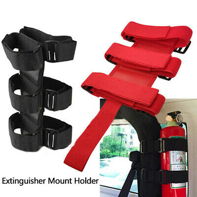 Universal Fire Extinguisher Holder Straps 3 Gear Adjustable Roll Bar Mounted  bc