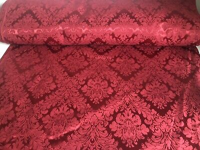 Vintage French Style Damask Brocade Woven Fabric Rich Red Burgundy New Old Stock