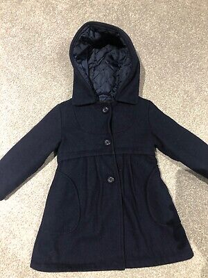 Marks And Spencer Autograph Girls Navy Wool Hooded Coat 2-3