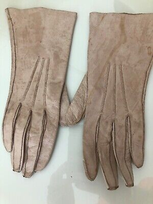 Pale Pinky Cream Vintage Soft Leather Gloves