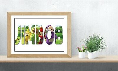 Teletubbies Personalised Name Wall Art Print Poster Ideal Gift A4 Childrens Room