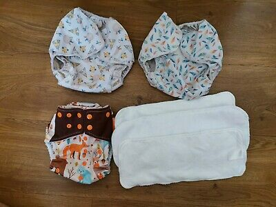 *USED* Reusable cloth nappy bundle (popolini and HappyFlute)