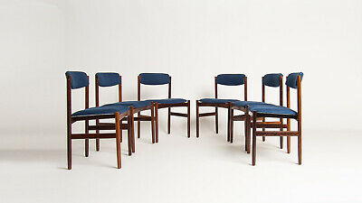 Mid Century Rosewood Dining Chairs Blue Linen Danish Retro Vintage Arne Jacobsen