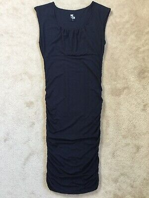 ME+EM Gorgeous Navy Blue Soft Jersey Ruched Body Con Midi Dress size Medium vgc