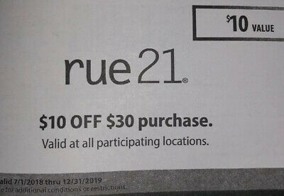 3 RUE 21 Clothing In-Store COUPONS $10 OFF $30 $20 OFF $50 $30 OFF $75 DISCOUNT