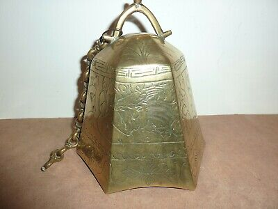 Chinese/Tibetan 16.3Cm Six Sided Brass/Bronze Temple Bell With Dragon/Bird Decor